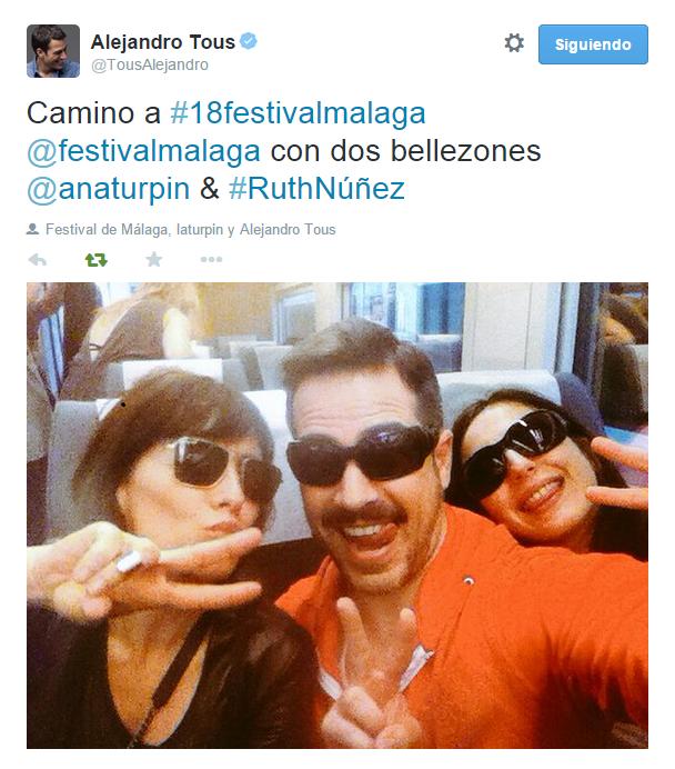 Ruth Núñez camino del Festival de Cine de Málaga con Alejandro Tous y Ana Turpin