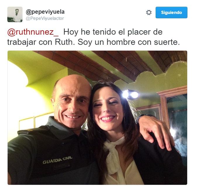 Ruth Núñez con Pepe Viyuela, protagonista de 'Olmos y Robles'.