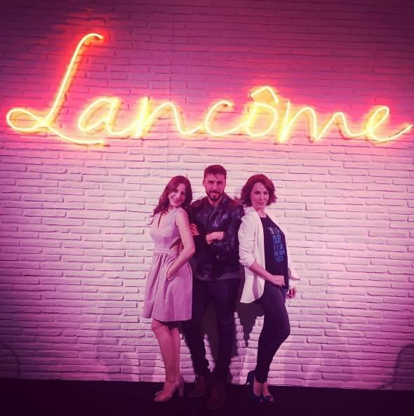 Ruth Núñez en la Maison Lancôme junto a Nerea Garmendia y Rubén Sanz